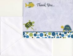 24 Printed CoCaLo Turtle Reef Boy Baby Shower Thank You Cards - Blue and Green, Fish, Turtle
