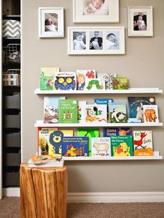Every child needs a little reading nook to explore favorite and new books. A wooden stool brings an organic element to the contemporary space and makes for a fun place to sit