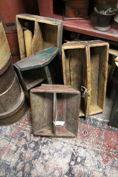Old primitive wooden tool boxes