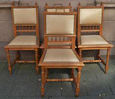 4 Antike Stühle Gründerzeit Eiche Massiv Ca 1860   1880