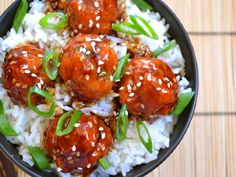 Teriyaki Meatball bowls--add some broccoli or green beans to the rice bowl. Juicy pork meatballs seasoned with ginger and garlic coated in a sweet and tangy teriyaki sauce served over fluffy rice. Step by step photos. Pork Recipes, Asian Recipes, Cooking Recipes, Healthy Recipes, Budget Recipes, Meatball Recipes, Meatball Appetizers, Budget Meals, Meatball Subs