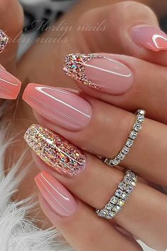 Pin on uñas Classy Nail Designs, Cute Acrylic Nail Designs, Best Acrylic Nails, Nail Art Designs, Glitter Nail Designs, Acrylic Set, Purple Nail Designs, Long Nail Designs, Nail Designs Spring