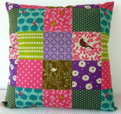 Japanese colorful patchwork pattern cushion cover, slip cover, throw pillow, decorative cushion, accent pillow. $35.00, via Etsy.