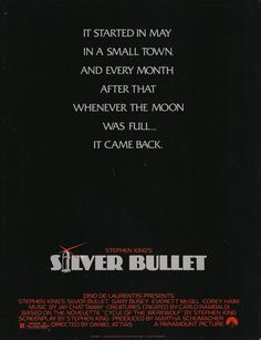 """Silver Bullet """"I'm a little too old to be playing Hardy Boys meet Reverend Werewolf! Movies Of The 80's, Great Movies, Best Stephen King Movies, Cinema Posters, Movie Posters, Tales From The Crypt, Hooray For Hollywood, Creatures Of The Night, Wolves"""