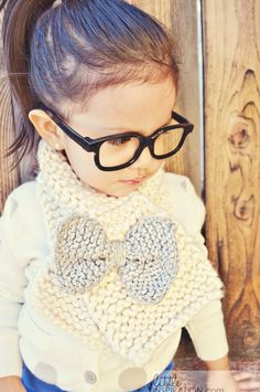 "Bow scarf with ""nerd"" glasses......adorable!!!"