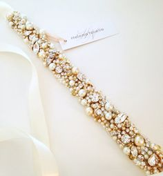 Opal Mint Crystal Bridal Belt Narrow Bridal by HelenaNoelleCouture