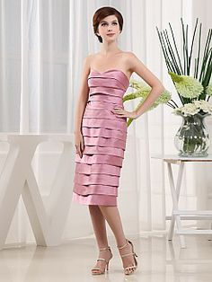 Strapless Layered Satin Mother of the Bride Dress with Shawl'