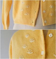 50s sweater / 1950s beaded wool cardigan / by VacationVintage, $34.00