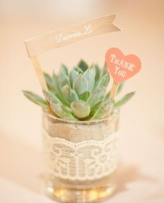 Make everyone a mini succulent plant to take home as a thank you! It might be hard to top this little beauty but try!  #thankyou #partyfavor
