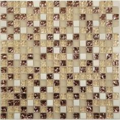 Bronze Bronze/Copper 5/8'' x 5/8'' Glass and Stone Glossy & Frosted Tile
