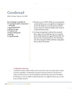 Miss Kay's Duck Commander Kitchen: Faith, Family, and Food--Bringing Our ... - Kay Robertson - Google Books. Cornbread recipe