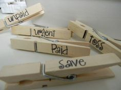 How to tame mail clutter: credit: Etsy [http://www.etsy.com/listing/64932359/mail-organization-clothespins]