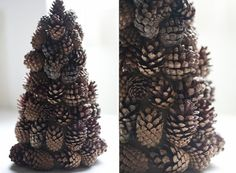DIY pine cone trees for Christmas decorations. Pine Cone Crafts, Tree Crafts, Christmas Projects, Holiday Crafts, Holiday Fun, Festive, Diy Crafts, Pine Cone Tree, Cone Trees