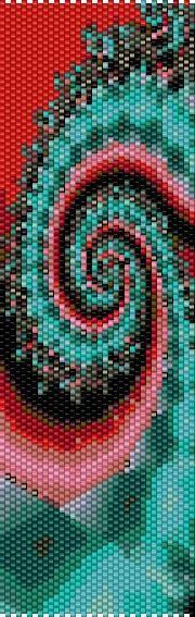 BPRS0001 Red Aqua Swirl Even Count Single Drop Peyote Cuff/Bracelet Pattern
