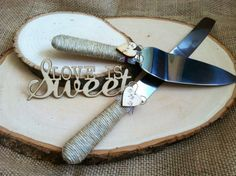 """The ORIGINAL DESIGN - Personalized Rustic Wedding Cake Cutting and Serving Set. Rustic or Country theme Wedding- minus the """"love is sweet"""".not my style Wedding Cake Cutting, Wedding Cake Server, Wedding Cakes, Cottage Wedding, Rustic Wedding, Wedding Ideas, Wedding Stuff, Bear Wedding, Wedding Set"""