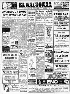 Burro se come 7 billetes de 500 bolívares. Publicado el 07 de agosto de 1954.