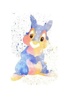 Bambi Thumper #disney print Disney fan art Watercolor by PuellaNest