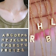 Shixin® European Simple Chain With Alphabet Gold Alloy Pendant Necklace(1 Pc) | MiniInTheBox