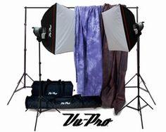 Vu-Pro Complete Pro Package #1 Photo Lighting, Backdrops, Backdrop Stand, Digital Backdrops Kit