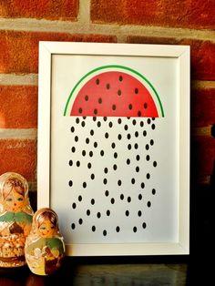 """Illustration """"Melonenregen"""" // illustration by kreativMotor via DaWanda.com"""