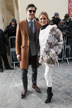 Olivia Palermo and nJohanes Huebl attends the Christian Dior Haute Couture Spring Summer 2017 show as part of Paris Fashion Week on January 23 2017...