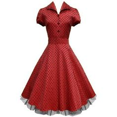 "LaFrock's Mad Men ""Ava"" Red 1940''s shirt polka dot circle vintage dress 8-18: Amazon.co.uk: Clothing"