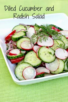 Dilled Cucumber and Radish Salad: Crisp cucumbers meet crunchy radishes and dill in this refreshing salad! AKA: I have radishes I need to use up. Radish Recipes, Salad Recipes, Dessert Recipes, Vegetable Salad, Vegetable Recipes, Chicken Recipes, Healthy Salads, Healthy Recipes, Savory Salads