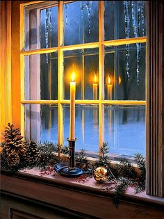 """It is Celtic tradition to put candles in the window to light the way for strangers. Shopkeepers once gave their customers Yule candles as a symbol of goodwill, wishing them a """"Fire to warm you by and a light to guide you. Days To Christmas, Noel Christmas, Primitive Christmas, Country Christmas, Vintage Christmas, Christmas Crafts, Christmas Decorations, Irish Christmas, England Christmas"""