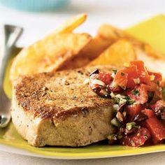Seared Mediterranean Tuna Steaks Recipe | MyRecipes.com