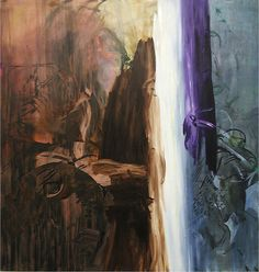 Charline Von Heyl  Untitled (Brown, White, Purple)  2003  acrylic, oil and oil stick on canvas  82 x 78 inches/208.3 x 198.1 cm