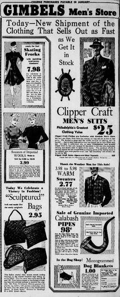 Ad for Gimbels. From The Philadelphia Inquirer; Store Ads, Men Store, Philadelphia Inquirer, 1930s, November, Friday, Fashion, November Born, Moda