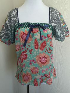 Anthropologie Fei size 2 silk cotton floral embroidered short sleeve square neck #Fei #Tunic #Casual