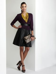 probably can't wear a leather skirt to work, but I bet a black pencil skirt would work just as well. Casual Dresses, Dresses For Work, Formal Dresses, Purple Cardigan, Yellow Top, Color Combinations, What To Wear, Leather Skirt