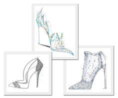 Modelos para a Cinderela por Paul Andrew, Renee Caovilla e Stuart Weitzman.