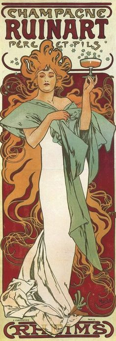Poster design by Alphonse Mucha advertising 'Champagne Ruinart', ca. 1896.
