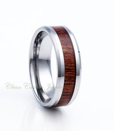Tungsten Wedding Band,Tungsten Wedding Ring,Koa Wood Inlay,Tungsten Ring,Tungsten Band,Beveled Edges,Comfort Fit,Anniversary Ring,Handmade