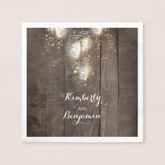 Mason Jar Firefly Lights Rustic Country Napkin - barn wedding gifts template diy customize personalize marriage