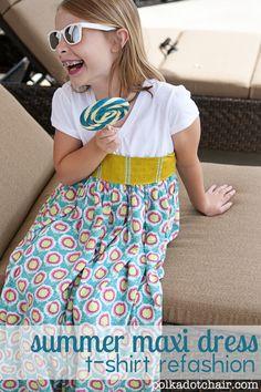 Summer Maxi Dress made from a t-shirt on www.polkadotchair.com