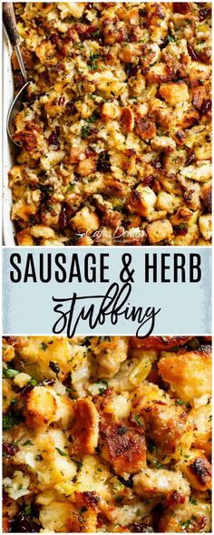 Thanksgiving Recipes Sausage & Herb Stuffing Recipe is FULLY STUFFED with so much flavour, and perfec… Sausage And Herb Stuffing Recipe, Classic Stuffing Recipe, Stuffing Recipes For Thanksgiving, Thanksgiving Sides, Sausage Recipes, Holiday Recipes, Cooking Recipes, Thanksgiving Desserts, Snacks