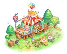 New Ideas For Bird Houses Illustration Artworks Kawaii Doodles, Kawaii Art, Kawaii Drawings, Cute Drawings, Isometric Art, Environment Concept Art, Fanarts Anime, Cute Cartoon Wallpapers, Cute Illustration
