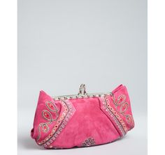 pink suede 'Loubis Angel Brodee' embellished clutch