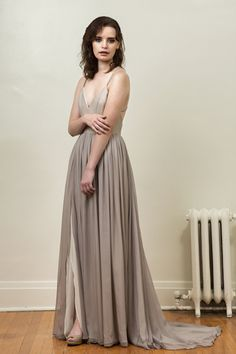 Gray and Ivory Silk Chiffon Wedding Gown  Leigh by JillianFellers