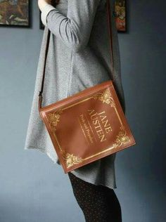 WANT!!! Leather Book Bag Brown Leather Book Purse - krukrustudio - favorite book ever etsy #janeausten