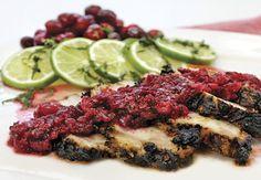Blackened Turkey Breast with Cranberry Mojito Relish