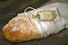Ciabatta bread. What a great way to wrap this bread, along with some home made soup this would make a wonderful gift for someone who's under the weather!!!!