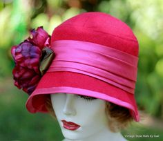 1920's Trendy  Wool Cloche Hat Downton Abbey Fuchsia от GailsHats