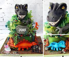 T-Rex, dinoasaurs, volcano cake- SmartieBox Cake Studio Dinosaur Birthday Cakes, Dinosaur Cake, Dinosaur Party, T Rex Cake, Dino Cake, 6th Birthday Parties, 3rd Birthday, Jurassic World Cake, Volcano Cake