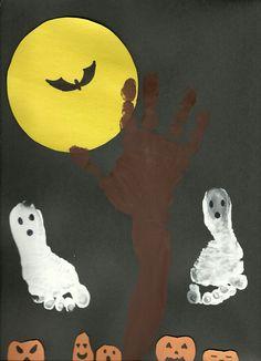 Halloween Hand and Footprint Art