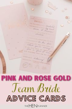These pink and rose gold advice cards for the bride are a great way of bringing some fun and easy personal touch to the hen party celebrations. They also work really well as an icebreaker. #teambride #henpartyaccessories