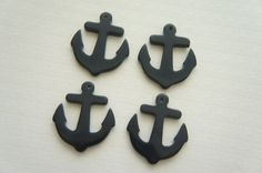 4 pcs Small Anchor Charm (28mm33mm) Plain Black AZ030 on Etsy, £2.19